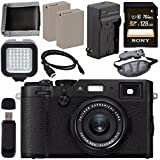 Fujifilm X100F Digital Camera (Black) 16534651 + NP-W126 Lithium Ion Battery + External Rapid Charger + Sony 128GB SDXC Card + Micro HDMI Cable + Memory Card Wallet + Card Reader + LED Light Bundle