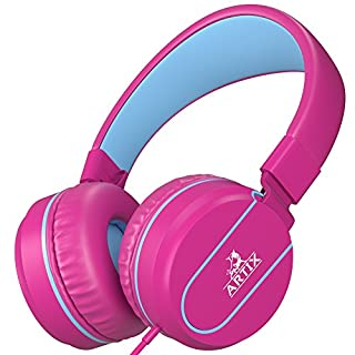 Artix Foldable On-Ear Adjustable Tangle-Free Wired Headphones, Compact Stereo Earphones with in-line Microphone and Controls for Children &Teen Head Phones for Sport, Travel, School - Pink