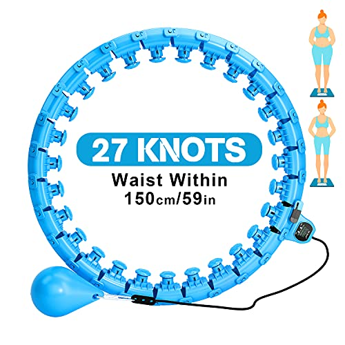 oneday Smart Weighted Hula Fitness Hoop for Adults, 27 Detachable Knots with Smart Counter Hoola Hoops, 2 in 1 Abdomen Non-Fall Exercise Hula Hoops Massage Adjustable Auto-Spinning Ball