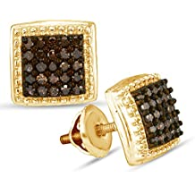 10K Yellow Gold Princess Square Shape Studs Channel Set Chocolate Brown Diamond Earrings (1/2 cttw.)