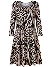 Luranee Womens Casual 3/4 Sleeve Knee Length Crew Neck Tunic Dress with Pockets
