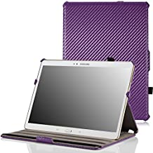 MoKo Samsung Galaxy Tab S 10.5 Case - Slim-Fit Multi-angle Folio Cover Case for Samsung Galaxy Tab S 10.5 Inch Android Tablet, Carbon Fiber PURPLE (With Smart Cover Auto Wake / Sleep)