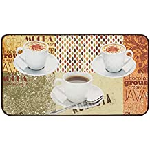 """Chef Gear 20"""" x 36"""" Anti-Fatigue Faux Leather 'Coffee Patch' Kitchen Mat"""