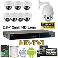 GW Security 8 Channel HD-AHD/TVI Camera HD 1080P CCTV DVR Kit : 7 x 1080P 2.8-12mm Varifocal Manual Zoom Dome Cameras 80FT IR Night Vision + 1 x 1080P HD-TVI PTZ Camera 20 times Zoom + 1 x 2TB HDD