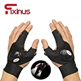 Fixinus Anti-Slip Outdoor Fishing Gloves Magic Strap Fingerless Glove with LED Flashlight for Light Repairing Camping Hiking Cycling Biking Rescue Tools (Left & Right Hand)