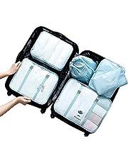 JSBelle 6 piezas Bolsas organizadoras de equipaje para viajes, Bolsa de almacenamiento de viaje (Azul)