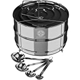 Simplify daily cooking with Blissware stackable stainless steel insert accessory - Fits 5, 6, 8 Instant Pots - Safe & built-to-last - Measuring spoons gift set Included!