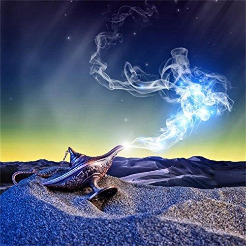 CSFOTO 4x4ft Background for Magic Aladdin Lamp Photography Backdrop Desert Antique Desire Dream Arabian Fantasy Wish Sand Promise Lantern Success Hope Fairy Tale Photo Studio Props -