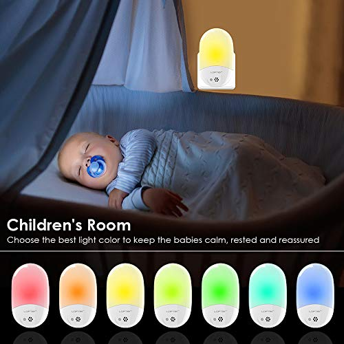 Plug-in Night Light for Kids, Compact RGB Color Changeable LED Night Lamp with Dusk to Dawn Sensor, Warm White Night Lighting for Baby Room, Bedroom, Hallway, Kitchen, Bathroom, Stairs (2 Pack)