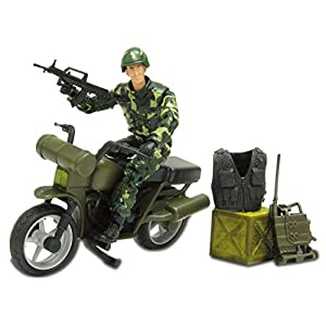 Action Figure Army Toy Set Chinese Soldiers 1:18, Soldier Take Weapon and Ride On Motorcycle