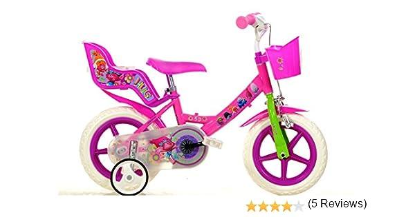 Bicicleta Chica 12 Pulgadas Dino Trolls Ruedas Extraíbles Cesta y Porta Muñecas Rosa: Amazon.es: Deportes y aire libre