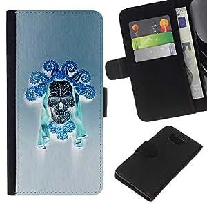 Be-Star la tarjeta de Crédito Slots PU Funda de cuero Monedero caso cubierta de piel Para Samsung ALPHA G850 ( Blue Skull Black Death Art Inca Indian )