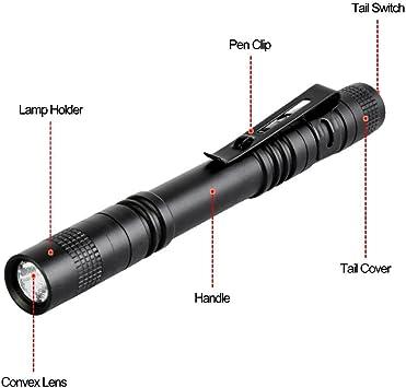 5Pcs//10Pcs Q5 LED Flashlight Clip Mini Light Penlight Portable Pen Torch Lamp B4
