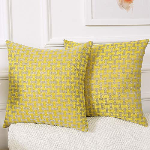 Madizz Pack of 2 Mid Century Modern Woven Linen Decorative Square Throw Pillow Covers Pack Cushion Cases 18x18 inch Checker Lemon Yellow and Gray