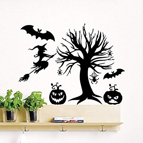 Halloween Tree Pumpkins Witch On Broom Autumn Decoration Holiday Art Decor Kids Panic Room Bedroom Home Stickers AM Wall Decals Decor Vinyl Stickers SK3254 -