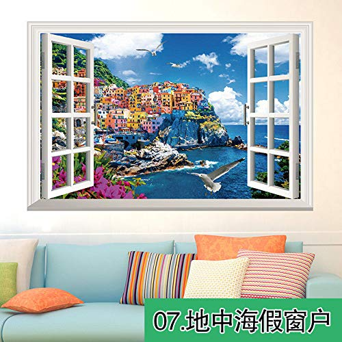 Wall Sticker SoungNerly Simple Creative Living Room Bedroom 3D Three-Dimensional Painting self-Adhesive Wallpaper Poster Stickers, Fake Windows, 7 -