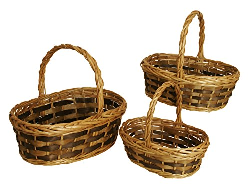 Wald Imports Brown Willow & Woodchip  Decorative Nesting Storage Baskets, Set of 3