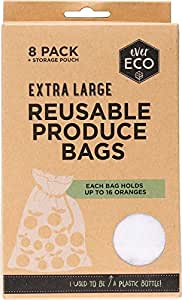 Reusable Produce Bags 8 Pack with Storage Pouch