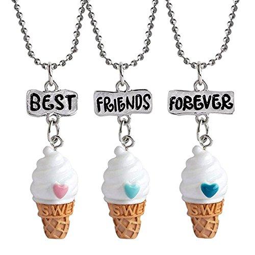 3 Packs Best Friend Forever Kids Children Resin Pendant Necklace (Ice cream) (3 Pack Gift)