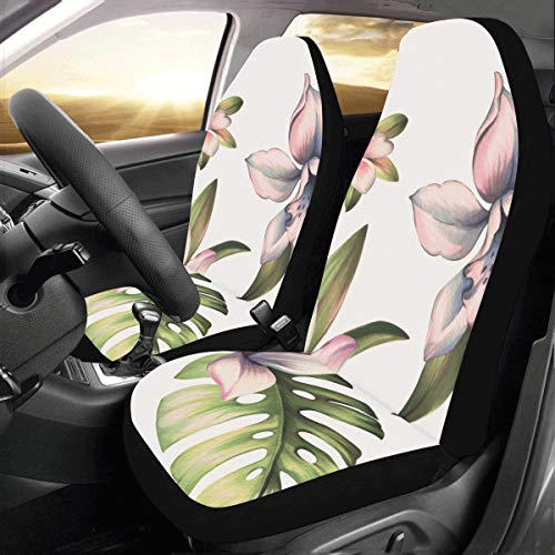 Orchid Branch Spring Flower Custom New Universal Fit Auto Drive Car Seat Covers Protector for Women Automobile Jeep Truck SUV Vehicle Full Set Accessories for Adult Baby (Set of 2 - Orchid Clipart