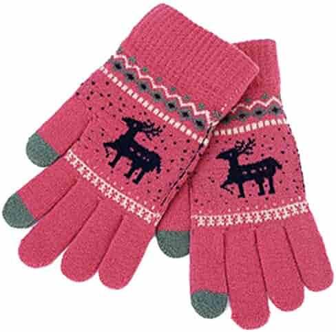 DishyKooker Winter Warm Knitted Gloves Touch Screen Full Finger 3D Printing Pattern Soft Gloves
