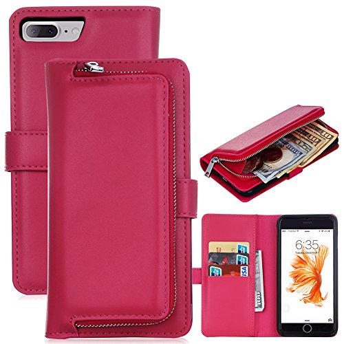 [iPhone 7 Plus] Removable Case[5.5'], Zipper Coins Wallet Pouch Leather Detachable Magnetic Case Purse Credit Card Holder Cover, LefRight Rose