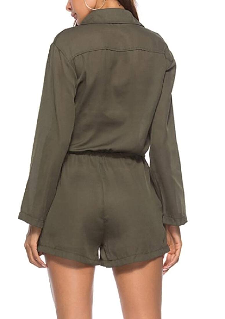 Womens Long Sleeve V Neck Drawstring Button Up Cargo Jumpsuit Romper