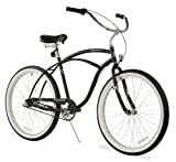 Firmstrong Urban Man 3-Speed Beach Cruiser Bicycle, 26-Inch, Matte Black