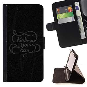 Jordan Colourful Shop - Believe You Can Message For Apple Iphone 6 PLUS 5.5 - < Leather Case Absorci????n cubierta de la caja de alto impacto > -