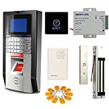 Bio Fingerprint &RFID &PIN Time Attandance Control System Kit Mag Lock Touch Exit Button Power Suppy Token Key Ring Wired Doorbell