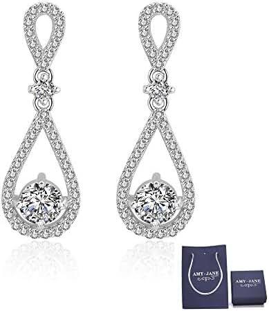 Teardrop Dangle Earrings for Wedding – Classic Silver Zicron Cubic Crystal Drop Earrings Pierced Austrian Style Womens Bridal Jewelry