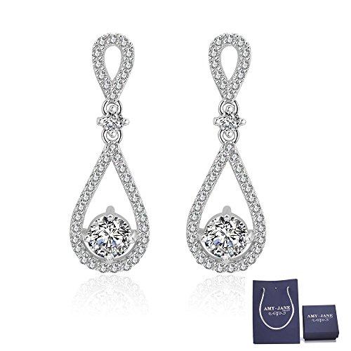 Elegant Womens Earring (Infinity Dangle Earrings for Women - Sterling Silver Teardrop Jewelry Cubic Zirconia Crystal Drop Earrings Womens Bridal Bride Bridesmaid Earrings)
