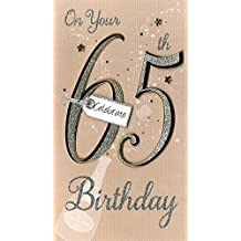 65th Birthday Hand-Finished Female Age 65 Champagne Range Greeting Card
