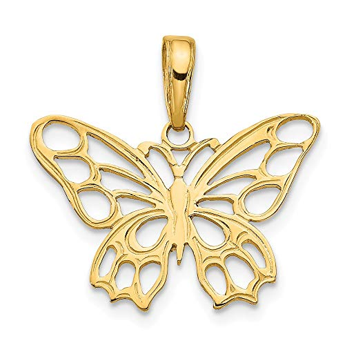 14k Yellow Gold Butterfly Cut Out Pendant Charm Necklace Animal Fine Jewelry Gifts For Women For Her Cut Out Butterfly Pendant