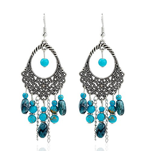 Women's Vintage Tassel Boho Drop Dangle Earrings Blue XF04