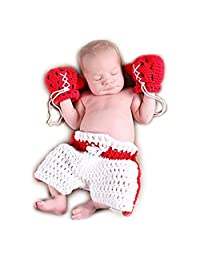 Baby Newborn Boxing Crochet Knitted Costume Glove Pants Photo Photography