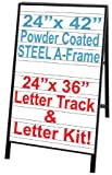 NEOPlex 24'' x 42'' Black Powder Coated Steel Sidewalk Sandwich Board A-frame Sign w/Letter Tracks Insert Panels and Full Letter Kit