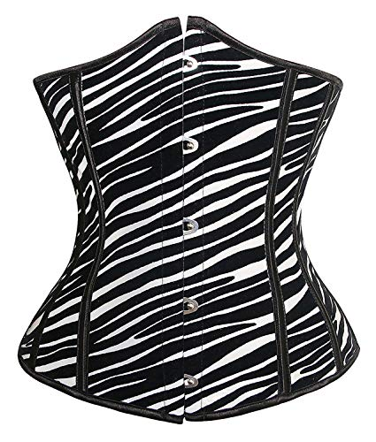 Coolweary Women's&Ladies Fashion Sexy Zebra Animal Print PVC Leather Club Party Corset Underbust-White Small