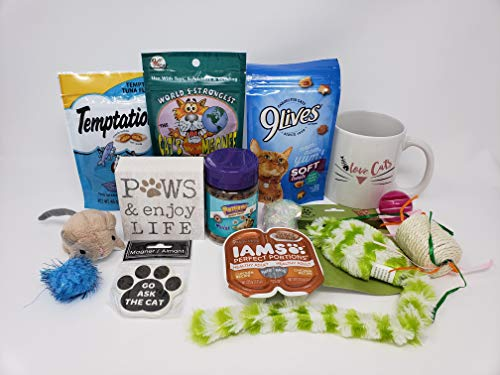The Cats Meow Groovy Cat Gift Box - Gift Basket full of Treats, Toys and Gifts for the Owner Perfect for a Cat or Kitten