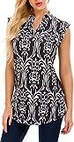 AM CLOTHES Plus Size Tunics Tank Top Women Sleeveless Floral V Neck Henley Blouse Shirts 3X Black