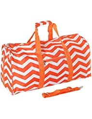 21 in Print Duffle, Overnight, Carry on Bag with Outside Pocket and Shoulder Strap (Orange Chevron)