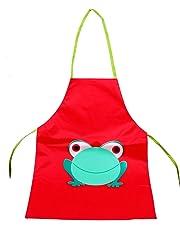 Elisona-Unisex Children Kids Cartoon Frog Style PVC Waterproof Sleeveless DIY Painting Drawing Art Craft Smock Apron for Below 110cm Height Kids Red