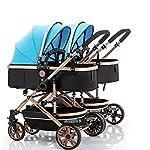 RUMIAO Baby Twin/tandem Pushchair, Detachable Combination, Two Way, 3DEVA Wheels,Blue