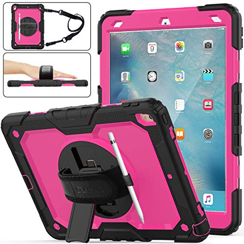 iPad Air 3 Case, SEYMAC Stock [Full-Body] Drop Proof Hybrid Armor Case with 360 Rotating Stand [Pencil Holder][Screen Protector] Hand Strap for iPad Air 3 10.5