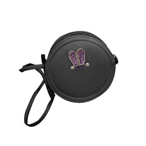 Miaomiaogo Round Shape Rabbit Ears PU Leather Shoulder Bag Women Girls Oblique Satchel Fan Shop