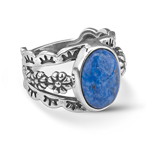 American West Sterling Silver Blue Denim Lapis Gemstone Floral Concho Motif Wide Ring Size 08