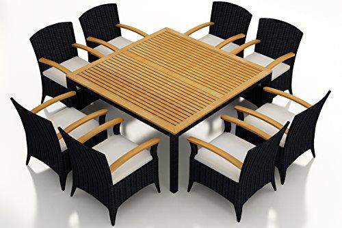 (Harmonia Living HL-AR-CB-9ASDS-CN 9 Piece Arbor Square Arm Dining Set, Canvas Natural Cushions)