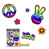 PEACE Hippy Rainbow Small FLOWER Love Pack Decal Car Stickers for Laptop Motorbikes Caravan - ST00007_SML - JAS Stickers