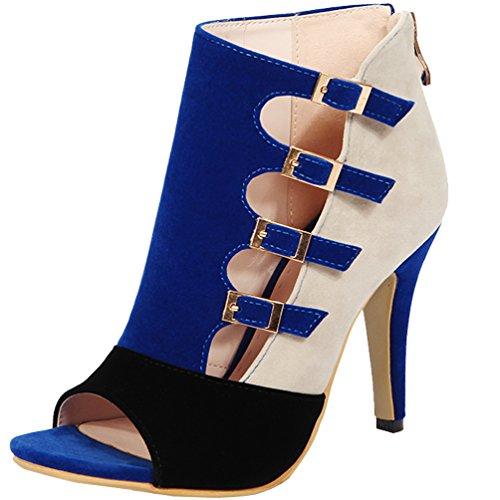 AIWEIYi Women's Patch Color Pumps Buckles Cutouts Platform High Heel Sandal Shoes