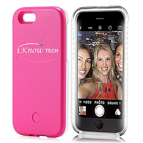 """iKNOWTECH Luxury Night Selfie Light Cover Bumper Case Photo Self LED Lightning for Apple iPhone 6 Plus / 6S Plus 5.5"""" (Hot Pink)"""